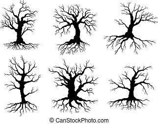 Old tree icons silhouettes with roots - Different black...