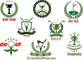 Golf club and tournament sport icons - Golf club and...