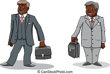Cartoon happy businessmen with briefcases - Cartoon well...