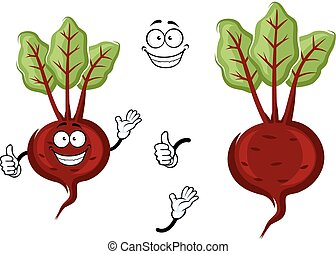 Happy little cartoon beetroot with green leaves