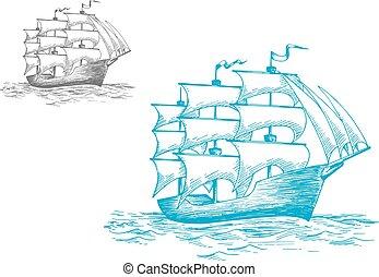 Schooner under full sail on the ocean