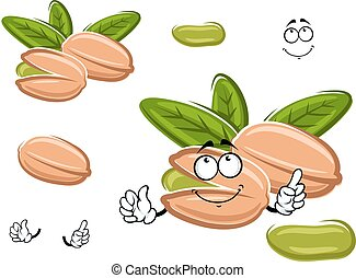 Smiling happy cartoon pistachio nut with green leaves and...