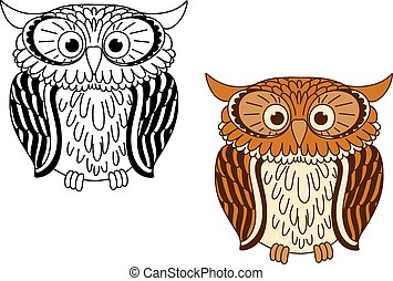 Brown and colorless cartoon owl birds with big eyes, for...