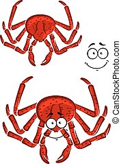 Red marine crab with a happy smile and a second variation...