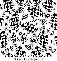 Seamless pattern of motor racing flags