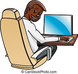 Businessman working at a desktop computer - Dark-skinned...