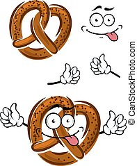 Cartoon pretzel with a happy smiling face and waving arms,...