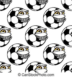 Seamless pattern of a happy soccer ball