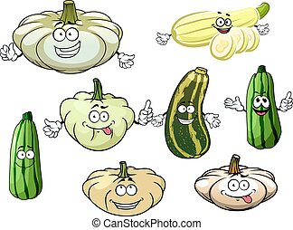 Zucchini, marrow and squash vegetables - Happy cartoon...