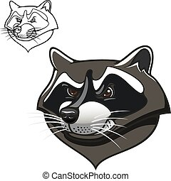 Angry cartoon raccoon mascot on white