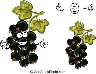 Cartoon black currant fruit with berries - Delicious fresh...