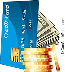Credit card with cash and golden coins