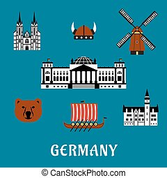 Germany travel and tourism flat icons - Germany travel...