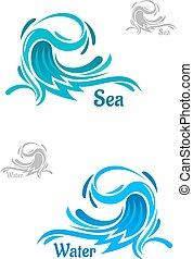 Powerful blue ocean wave icons - Big powerful ocean wave...