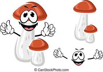 Birch bolete mushroom cartoon character - Happy birch bolete...