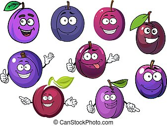 Cartoon fresh purple plum fruits - Tasty purple plum fruits...