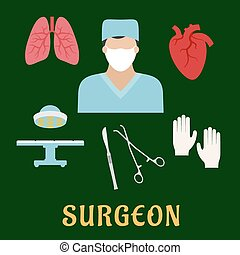 Surgeon profession with flat icons - Surgeon profession flat...