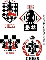 Chess game icons with chessmen and timer - Chess game icons...