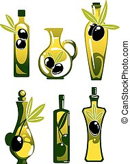 Olive oil in bottles and jug - Extra virgin olive oil in...