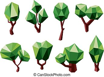 Green 3D polygonal trees icons