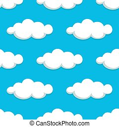 White clouds on blue sky seamless pattern
