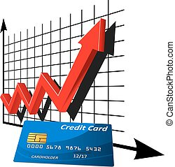Bank credit card with rising graph - Bank credit card in...
