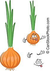 Cartoon green onion vegetable character - Healthful cartoon...