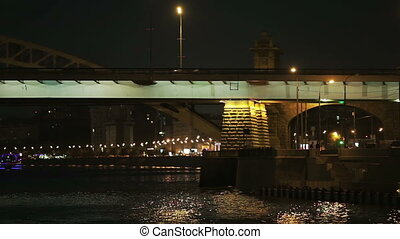 Bridge at night - Bridge over the river night,Moscow.View...