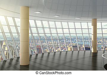 Empty office with cityview