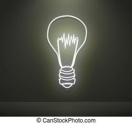 Lightbulb concept idea in the interior