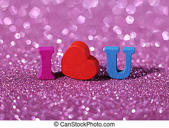 I Love You - I love you text on beautiful pink glittering...