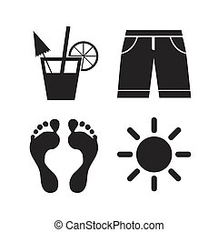 Beach holidays icons. Cocktail, human footprints and...