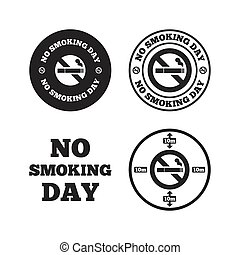 No smoking day icons Against cigarettes - No smoking day...
