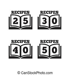 Cookbook icons. Fifty recipes book sign.