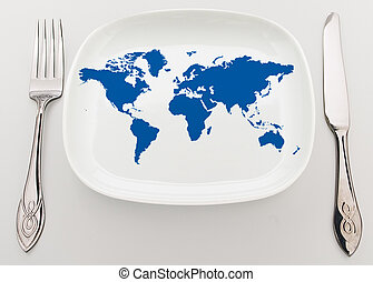 World on plate - Concept: whole world on the plate...