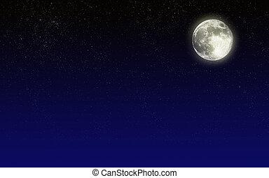noche, cielo, luna