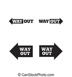 Way out icons Left and right arrows symbols Direction signs...
