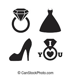 Wedding dress icon. Women's shoe symbol.