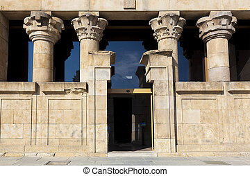 Entrance of the Debod Temple, Madrid, Spain