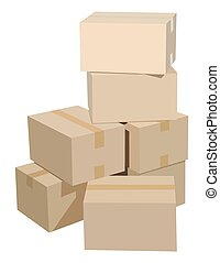 Cardboard box 33eps - Pile of cardboard boxes on a white...