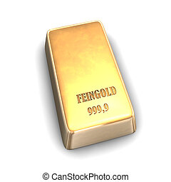 Fine Gold Bar - 3D illustration looks fine gold bar on the...