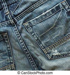 back pocket of fashion blue jeans