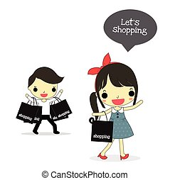 """shopping time, woman with happy emotion say """"let's shopping""""..."""