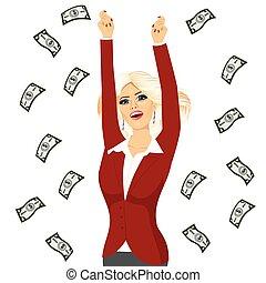 business woman under a money rain - portrait of business...