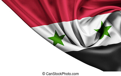 Syria waving silk flag isolated on white background