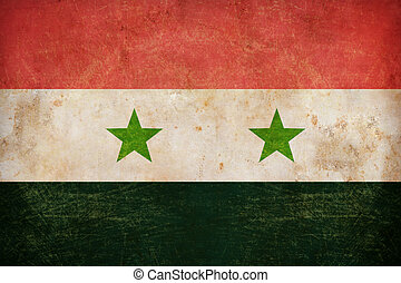 Syria flag on grunge old paper background