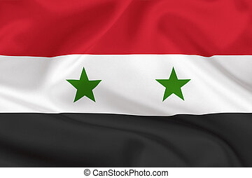 Syria flag on waving silk background - Syria flag on waving...