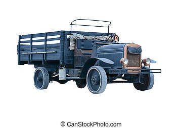 the ancient truck - the old 1920s dump truck isolated on a...