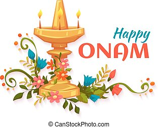 Happy Onam banner with flowers and lamp.