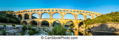 Panoramic view at Pont du Gard bridge - France